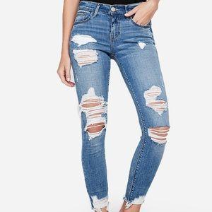 EUC Express mid rise ripped jean leggings Sz 12s